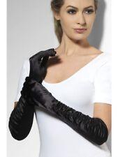 Satin Look Handschuhe edel lang Damen