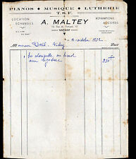 "VICHY (03) Atelier PIANO MUSIQUE LUTHERIE T.S.F. ""A. MALTEY"" en 1952"