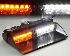12V 16 LED Car Police Strobe Lights Dash Emergency 18 Flashing Lamps White/Amber