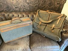 Hartmann Luggage Vintag Tweed and Leather Travel Bags Set of 3