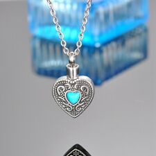 Turquoise Heart Memorial Cremation Jewelry Keepsake Urn Necklace Ash Holder