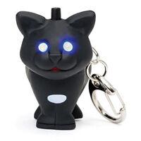 Black Cat LED Keychain Animal Kikkerland Lighted Eyes & Meowing Sound Gift