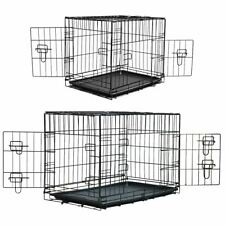 PET CRATE DOG CAGE WITH PLASTIC TRAY FOLDING METAL CARRIER PUPPY TRAINING CAT