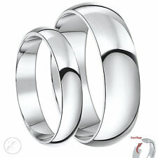 9 Ct Or blanc His & Hers lourde anneaux de mariage 4 & 6mm