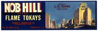 SAN FRANCISCO NOB HILL with MARK HOPKINS HOTEL~ORIGINAL 1940s FRUIT CRATE LABEL