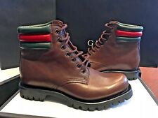 GUCCI Classic Brown Web Detail Military Combat Boots Size 6 / 7 US