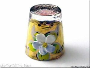 LAVENDER VENETIAN GLASS THIMBLE with FABULOUS HANDPAINTED RAISED FLOWER