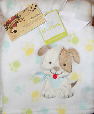 BABY STARTERS BLANKET PUPPY DOG TAN BROWN PAW PRINTS ON WHITE ALL PURPOSE NEW