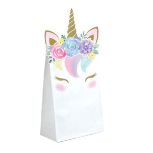 8 x Beautiful Pastel Unicorn baby Party Favour Boxes Bag Birthday baby Shower