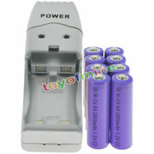 8 AA Purple Rechargeable Batteries NiCd 2800mAh 1.2v Solar Light + Charger