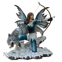 WILDLING PRINCESS WOLF ORNAMENT FAIRY BRAND NEW NEMESIS RESIN FIGURINE BOXED