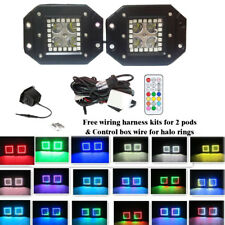 "Pair 5"" FLUSH MOUNT Pod Cube LED Work Light Color Change RGB Angel Eyes Halo 12V"