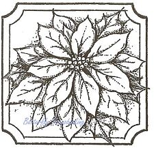Single Poinsettia Christmas, Wood Mounted Rubber Stamp NORTHWOODS - NEW, CC8240