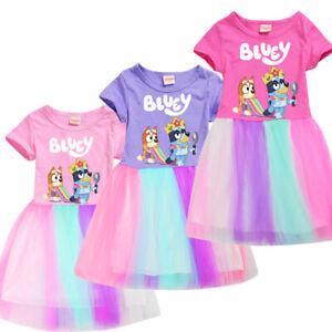 Bingo Bluey summer Girls Rainbow Tulle Dresses Rainbow dress Pleated Skirt UK