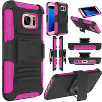 For Samsung Galaxy S7 edge Slide Case Cover Stand Belt Clip Shockproof Holster