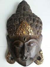 BUDDHA FACE HEAD MASK WALL ART HANGING WOOD CARVING FENG SHUI BALI BALINESE 30CM