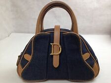 Authentic Christian Dior handbag Denim leather 5H250670