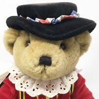 "Harrods Brown Teddy Bear Plush Knightsbridge Beefeater Royal Guard Sitting 11"""