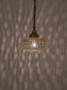 Moroccan Handmade Disc Shaped Ceiling Pendant Light with Punch Work Design