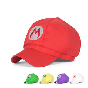New Super Mario Bros Luigi Waluigi Baseball Cap Embroidered Hat Anime Cosplay
