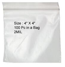 "200 4 x 4"" 2mil Reclosable Poly Clear Ziplock Zip Lock Bags Self Locking Zipper"