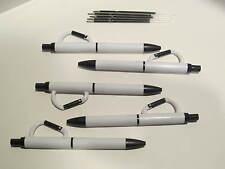LOT OF 5 CARABINER BALLPOINT PENS-BLACK/WHITE-CLIP ON + 5 FREE REFILLS