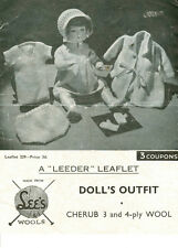 VINTAGE KNITTING PATTERN  COPY - TO KNIT  DOLLS CLOTHES 1940's  - 3 & 4 PLY