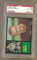 1962  TOPPS FOOTBALL   JIM RAY SMITH # 30     PSA 6