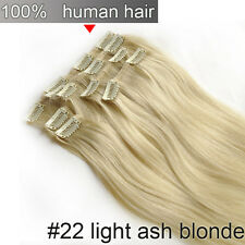 80g 100g 120g 140g Clip in Remy Human Hair Extensions Full Head Thick 100% Real!