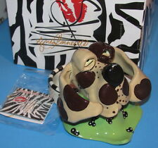 Nova Hound Dog Ceramic Tea Light Candle Holder SWAK Artist Lynda Corneille NIB