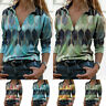 Women Long Sleeve V Neck Geometric Print Blouse Loose Shirt Casual Pullover Tops