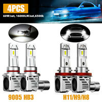 4x Combo 9005+H11 ZES Chips LED Headlight Bulbs Conversion Kit Hi/Low Beam 6000K