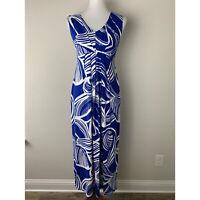 Chico's Womens Blue White Printed Sleeveless V Neck Maxi Dress Size 0