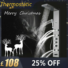 38℃ Thermostatic Shower Panel Bathroom Column Tower Body Jets Stainless Set UK