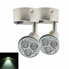 2X Pure Cool White LED Round Bed Side Reading Wall Bedside Lamp Light 12V Switch