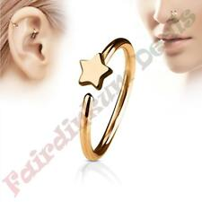 316L Surgical Steel Rose Gold Ion Plated Nose & Ear Cartilage Ring with Star