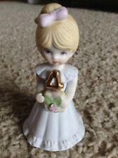Enesco Birthday Growing Up Girls 4 Year Old Blonde Hair Doll Figurine 1981