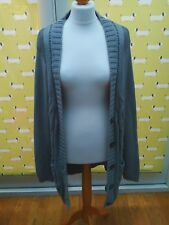 Womens Long Grey Cable Knit Wool Cardigan Papaya Size 16