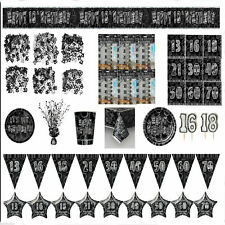 Black Glitz Party Tableware Ages 13-60 Party Supplies Decorations Banners Candle