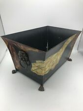 Hand-Painted Tole Toleware Metal Tin Planter / Box Cache Pot Container Asian