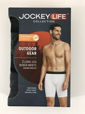 Jockey Life Men's Outdoor Gear Long Leg Boxer Briefs MEDIUM Gray & Green 2 Pack