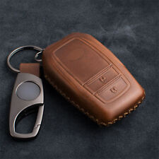 2 Buttons Brown Leather Car Smart Remote Key Fob Cover Case Fit For Toyota Camry