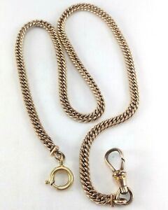 """Vintage Simmons Gold Filled Curb Cuban Link Pocket Watch Fob Clasp Chain - 14.5"""""""