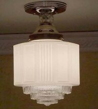 956 Vintage 30s 40s aRT Deco Ceiling Light Lamp Fixture  bath hall kitchen 1of 2