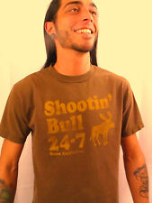 SHOOTIN' THE BULL Club Red Brown 100% Cotton Size M T-Shirt