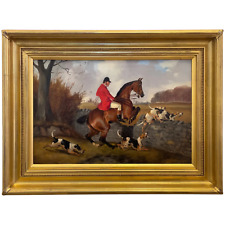 """Victorian Sporting Oil Painting """"Taking A Fence"""" Hunting By John Alfred Wheeler"""