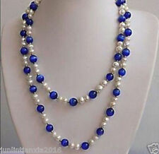 48 inches beautiful White pearl&Blue opal necklace 7-8MM