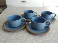 "MIDWINTER STONEWARE 8 PC. CUP and SAUCER SET in the ""BLUESTONE"" COLOR PATTERN"