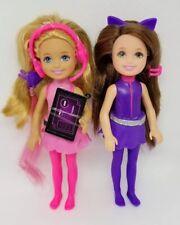 "Barbie Spy Squad Chelsea & Friends Junior Agent Purple  00004000 & Pink 6"" Doll Lot Of 2"