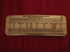 1978 CHEVROLET CHEYENNE BLAZER GMC TRUCKS 250 292 305 350 400 454 EMISSIONS DECA